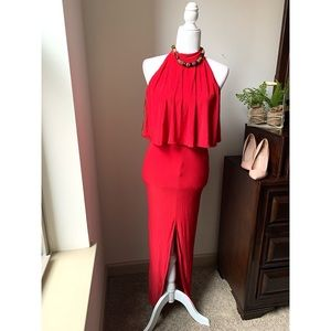 New look red layered split front maxi dress